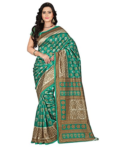 e-VASTRAM Women\'s Art Mysore Printed Silk(NS9C_Green)