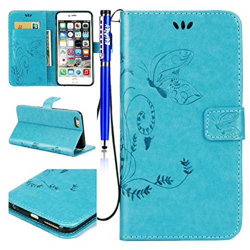 EUWLY Custodia Cover per iPhone 6 Plus/iPhone 6s Plus (5.5), EUWLY Luxury Puro Colore Cover Case in PU Leather per [iPhone 6 Plus/iPhone 6s Plus (5.5)] Modello Goffratura Fiore Farfalla Design Bumpe Butterfly,Blu