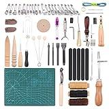 Malayas Kit de 55 Piezas Herramientas de Cuero para Manualidades Herramientas Costura de Cuero Herramienta de Artesanía para Bricolaje