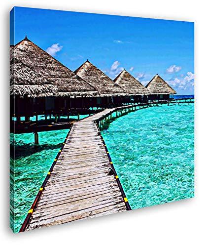 deyoli Paradis am Meer im Format: 40x40 Effekt: Zeichnung als Leinwandbild, Motiv auf Echtholzrahmen, Hochwertiger Digitaldruck mit Rahmen, Kein Poster oder Plakat