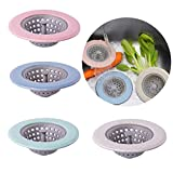 Gizhome 4 Stück Dusch- und Badewannen-Abfluss, weiche Silikonkuppel, verhindert das Verstopfen, Badewanne und Duschabläufe