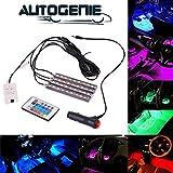 Autogenie NightVision LED Auto Innenbeleuchtung mehrfarbig Atmosphäre Licht RGB KFZ Streifen Zigarettenanzünder Fernbedienung (Nightvision)