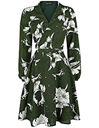 VOODOO VIXEN Molly Floral Wrap Dress Medium-Length Dress Green 76ae0214a