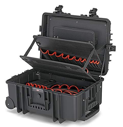 Knipex 00 21 37 LE Werkzeugkoffer Robust45 mit integrierten Rollen und Teleskopgriff leer, Schwarz