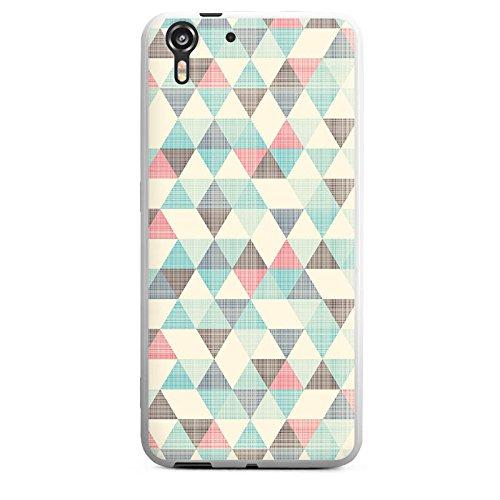 HTC Desire Eye Silikon Hülle Case Schutzhülle Dreiecke Vintage Muster Pastell