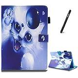 iPad Air 2 Hülle,Slynmax Ultradünne Superleicht Leder Hülle Wallet Flip Case Smart Case mit Mehrerer Blickwinkel Rückseite Abdeckung Leichtgewicht Anti-Kratzer Schutzhülle Tablet Ledertasche für iPad Air 2,Nette weiße Katze