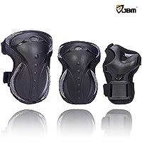 JBM Protective Gear-Ginocchiere, polsiere e gomitiere per su Skateboard-Skateboard, in linea e pattinaggio, skateboard e molto altro scooter, BMX, bici, bicicletta (Nero, Bambini)