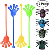 TOYMYTOY 12pcs Mini Glitter Sticky Hands Toys y Sticky Spider Toys Set Party Favor Toys para Niños (4Spider + 8 Hands Astutos)