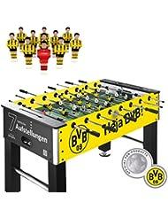 liveki Redecker–Futbolín Borussia Dortmund, 7ranuras de aufstellungen Sistema, incluye pelotas, profesional de futbolín, mesa de fútbol, altura regulable, peso: 50kg, 2,8cm Cuerpo, 15,8mm Barras, Izzy Sport