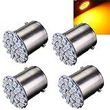 AUDEW 4 X 1156 BA15S 22 LED 1206-SMD Auto Ampoule pour Feu Arrière/ Recul/Clignotant P21W Voiture Lampe DC 12V Jaune Lumière
