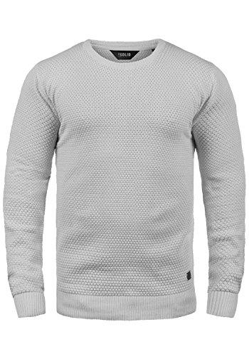 !Solid Karl O-Neck Herren Strickpullover Feinstrick Pullover Mit Rundhals Aus 100% Baumwolle, Größe:L, Farbe:Light Grey Melange (8242)