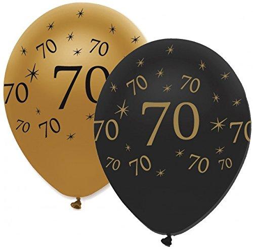 34 Teile Dekorations Set zum 70. Geburtstag oder Jubiläum – Party Deko in Schwarz & Gold - 4