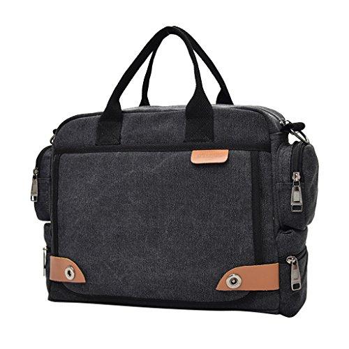 Gazechimp Vintage Umhängetasche Herren Schultertasche Messenger Bag Aktentasche Freizeit Handtasche Mode Messengertasche Schwarz