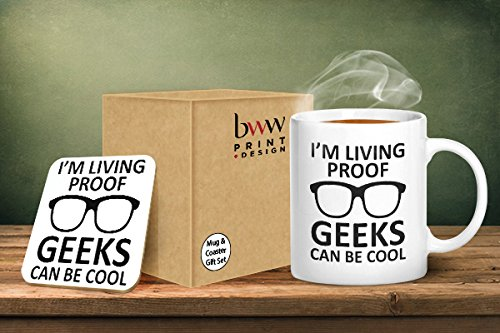 """I'm Living Proof Geeks Can Be Cool"" Mug And Matching Coaster Set"