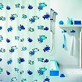 Spirella Anti-Schimmel Duschvorhang Hugo Blue Anti-Bakteriell, waschbar, wasserdicht Vinyl 180x200cm