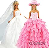 Miunana Hand Made 2 Sets Princess Evening Party Clothes Wears Wedding GOWN Dress Outfit with Veil/Hat For Barbie Doll Gift AS PICUTRE
