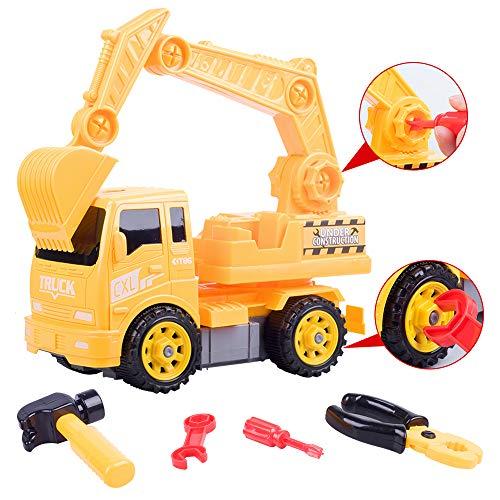 LKW Spielzeug Bagger Geschenk junge liebt klassische Digger Fahrzeug konstruktive Spielzeuge zusammenzubauen Bagger Spielzeug 37pcs groß Spielzeug für 3 Jahre alten Kis, Geburtstag, Christamas Geschenk Spaß Spielzeug für 3+ Jahre alter Junge, Garten Spielzeug für draußen|Jopee (GELB)