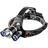 EKRON LED Headlamp T6 5000 Lumens Waterproof Headlight with Rechargeable 18650 Batteries for Camping (Multicolour)