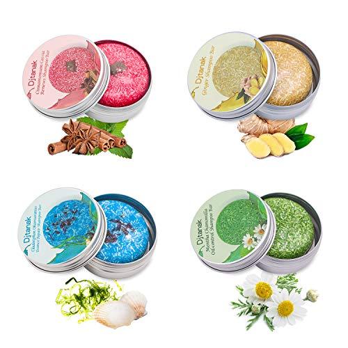 Djtanak Champú Sólido Organico 4 Pcs, Natural Herbal Champú...