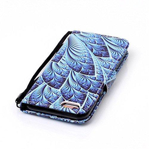iPhone 6S Brieftasche,iPhone 6 Flip Case Cover, Aeeque® Glitzer Luxus [Schwarz Tiefes Blau Spleiß Stil] Kartenfach Standfunktion Handytasche für iPhone 6/6S mit Abnehmbar Handy Lanyard und Weich Silik Bild Elegant Pfaublume