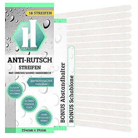 18 Anti-Rutsch Streifen Bad + Gratis Abstandhalter / Hygienische Duschmatte