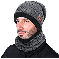 GOODBUY Wintermütze Herren Warm Beanie Mützen Strickmütze mit Schal de Fleecefutter