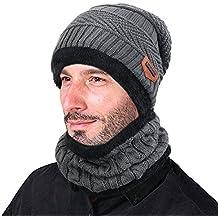 Goodbuy Wintermütze Herren, Warm Strickmütze und Schal mit Fleecefutter