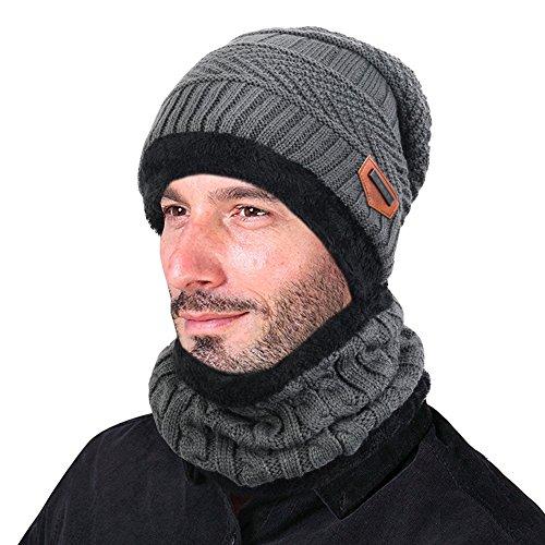 Goodbuy berretto uomo in maglia per inverno caldo cappello beanie con sciarpa (grigio)