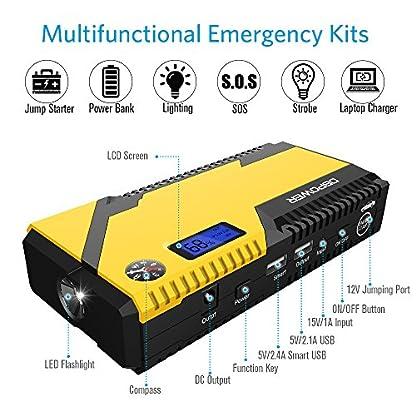 51QrPWmmu8L. SS416  - Arrancador de batería portátil para coches DBPOWER® 500A 12000mAh, batería de emergencia, doble puerto USB, linterna LED y brújula.