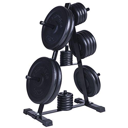 ScSPORTS® Hantelscheiben-Set 130kg Gusseisen mit Hantelscheibenständer, Gewichtsständer mit Gewichten, Bohrung und Aufnahme 30 mm