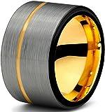 Tungsteno Anillo 12 mm para las mujeres de los hombres de negro y 18 K de oro amarillo de corte de tubo cepillado pulido y garantía de por vida