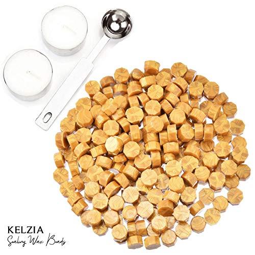 230 Stück Siegelwachs achteckig mit 2 Teelichtern + 1 Schmelzlöffel. Wachs-Siegelwachs (Gold)