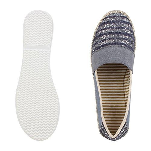 Japado Komfortable Damen Espadrilles Bequeme Slipper Funkelnde Glitzerapplikationen Modische Sommer Schuhe Gr. 36-41 Blau Blue