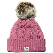 72237233073a61 LONGCLASS edel gestrickte Damen Bommelmütze Elegance mit warmen Fleece  Innenband angenehm weiche Strickmütze mit feinem elegantem