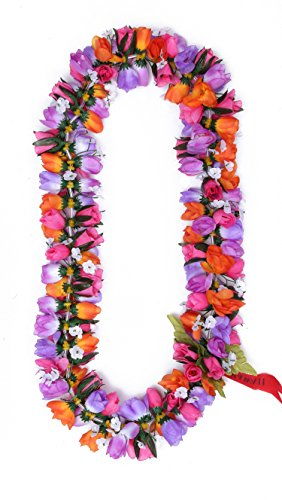 Hawaiian-Luau-Fiesta-Kapiolani-Tuberosa-Tela-Artificial-Flor-Lei-Rosa-prpura