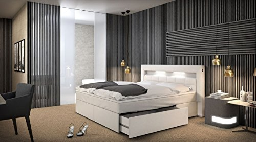 Boxspringbett Optik Hotelbett München mit Beleuchtung Kunstleder weiß Komplettbett amerikanisch 160x200 180x200 200x200 200x220 cm