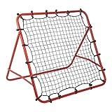 Homgrace Fußball Tchoukball Rebounder Netz Rückprallwand Trainingsnetz Fussball Trainingsgeräte Trainingszubehör, 100 x 100 cm, 4 Einstellbare Winkel, Schwarz & Rot