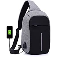 Sac de Poitrine Homme USB Anti-vol Sac Bandouliere Casual épaule triangle packs sacs pour les hommes femmes Canvas sacs photo numérique avec port de charge pour 18*10*31cm