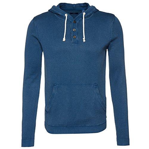 TOM TAILOR Messieurs Pull-over à capuche 100 % coton Bleu