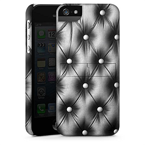 Apple iPhone 5s Housse Étui Protection Coque Sofa Cuir Motif CasStandup blanc