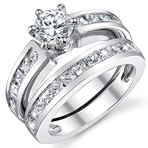 Ultimate Metals Co. Sterling Silver Women's Bridal Set Wedding Ring