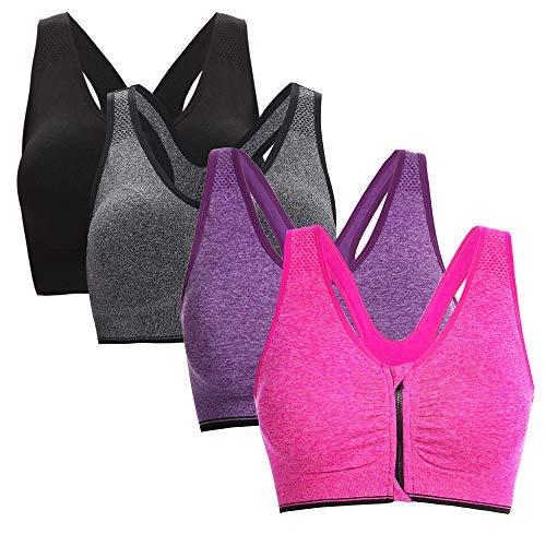 Aibrou Damen Sport BH Yoga Bra Push Up BH Starker Halt Bustier für Fitness Training mit Reißverschluss 4er Pack L