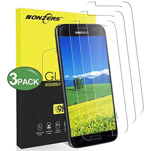 NONZERS Panzerglas Schutzfolie für Samsung Galaxy S7 [3 Stück] 9H Härte Displaychutzfolie Anti-Kratzen Anti-Fingerabdruck Blasenfrei Einfache Installation Panzerglasfolie für Samsung S7