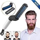 ADTALA Quick Hair Styler for Men Electric Beard Straightener Hair Comb Beard Comb Multifunctional Curly Hair Straightening Comb Curler, Beard Straightener,For Men (Black)