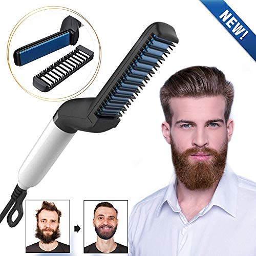 ADTALA Quick Hair Styler for Men Electric Beard Straightener Hair Comb Beard Comb Multifunctional Curly Hair Straightening Comb Curler, Beard Straightener,For Men (Black)