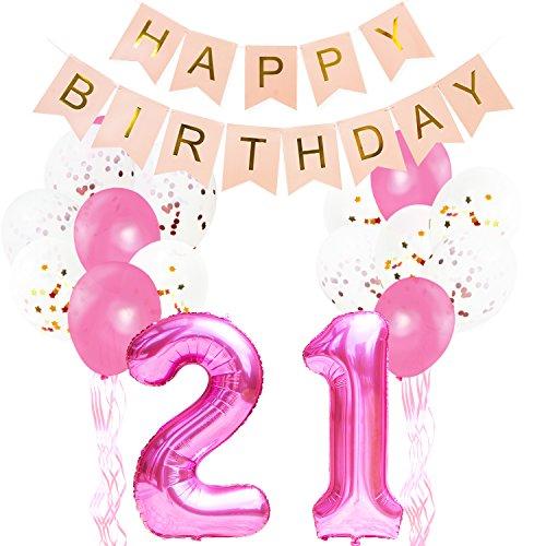 (KUNGYO Pinke Party Dekorationen zum 21. Geburtstag - Happy Birthday Banner Riese Zahl 21 Folienballon in Rosa Konfetti Folienballons Latex Balloons Bänder (32 Stücke))