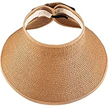 Visera de Sol Pamelas Enrollables Sombrero de Visera Ancha de Mujeres  Sombrero de Copa Abierta Gorro 20a0a09bc2cd