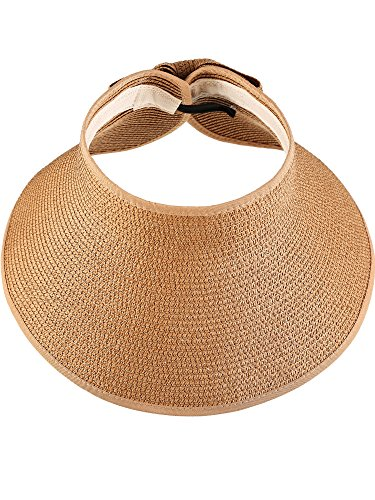 Hestya Damen Breiter Krempe Roll-up Stroh Sonnenblende, Packable Faltbare Roll Up Breiter Krempe Sonnenblende Strand Stroh Open Top Hut (Natürliche Farbe)