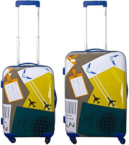Hartschalen ABS Kofferset 2 tlg Reisekofferset mit Motiv Farbe Neapel