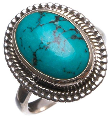 stargems (TM) natur türkis handgefertigt Vintage 925Sterling Silber Ring, UK Größe M